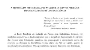 A Reforma da Previdência (PEC nº 6/2019) e os graves prejuízos impostos às pessoas com deficiência