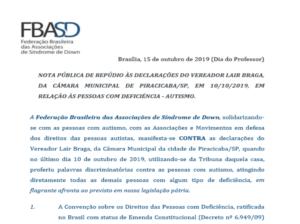 Nota Pública de repúdio às declarações do Vereador Lair Braga em relação às pessoas com deficiência – autismo.
