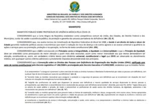 Manifesto público do CONADE sobre protocolos de urgência médica pela COVID-19