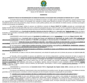Manifesto Público de recomendação ao Conselho Nacional de Educação para alteração do parecer CNE N° 11/2020