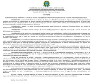 Manifesto Público contrário à minuta de Medida Provisória que reduz cotas de reservas de vagas às pessoas com deficiência