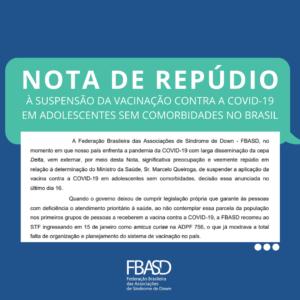 Nota de Repúdio à suspensão da vacinação contra COVID-19 em adolescentes sem comorbidades no Brasil